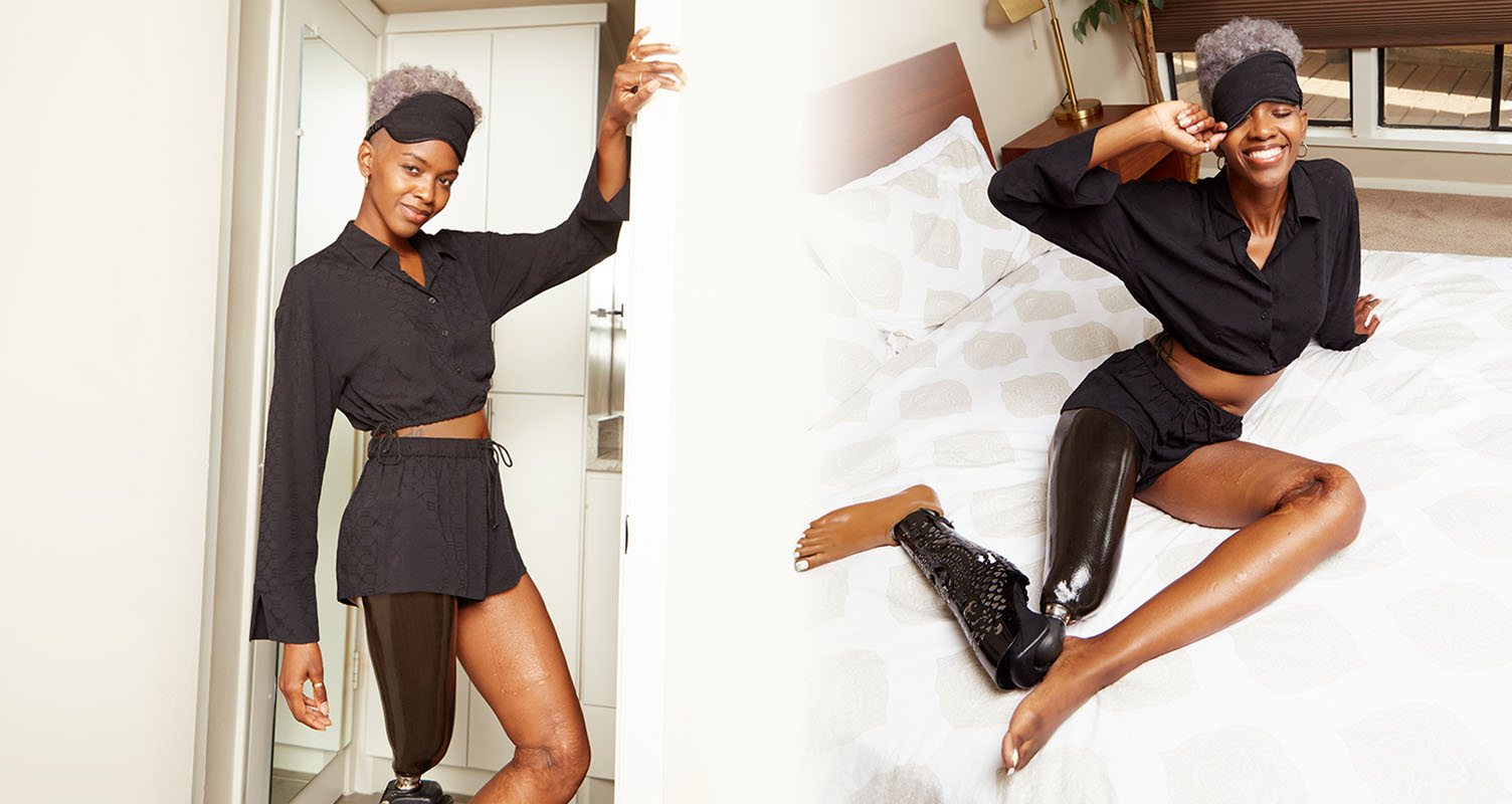 Models wearing Black sleep top and bottom.