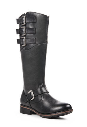 Womens Wide Leather Motorcycle Boots 16
