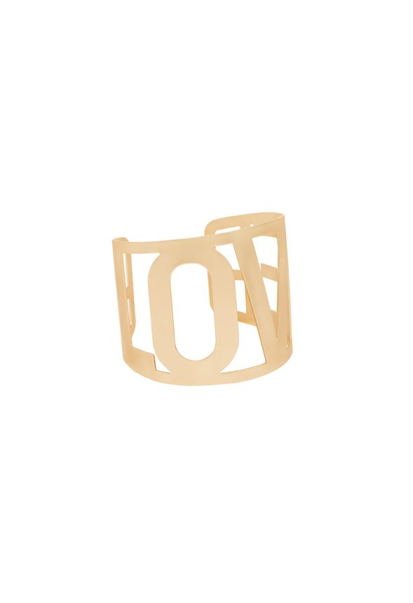 Brace yourself for the ultimate look of chic! Modern cutout cuff spells LOVE and, well, that's how we feel about it! Layer it with other delicates or rock it on its own!