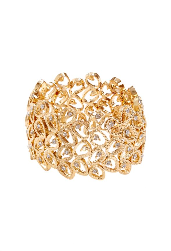 Here\\\'s a dose of cuff love for you! This elegant beauty, feautring textured gold-plating and interspersed rhinestones for a hint of glint, is the ultimate statement piece for day or night (and we happen to love it over gloves!)