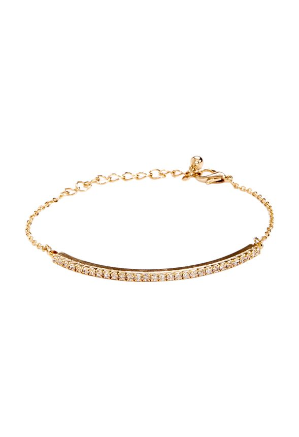 This bracelet sets the bar high for winter jewelry elegance! Center bar pendant with dainty crystals on a simple link chain. Adjustable, lobster clasp.
