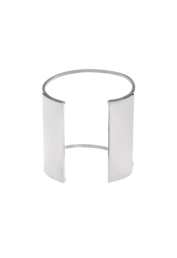 Channel your inner stylish superhero with this simple yet stunning cuff bracelet. Choose from gold or silver plating. Features open cut-out detail for comfort and adjustability.