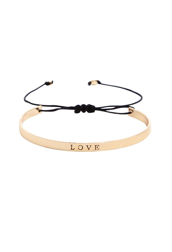 Back in swing with the affirmation trend, this simple bracelet features a LOVE monogram that we, well, love. Part cuff, part friendship bracelet. Pulls tight for adjustability.