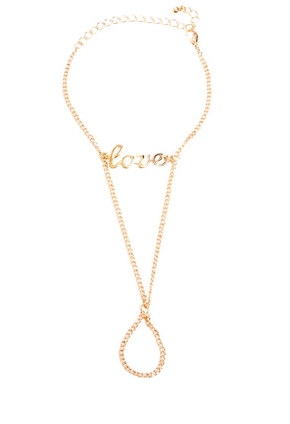 """The ring/bracelet combo continues with this festive find! Delicate """"love"""" bracelet connects to link chain and a simple ring band for a look that's unexpectedly fresh and feminine!"""
