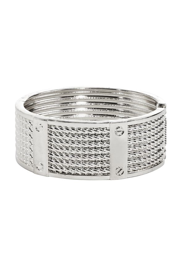 Here you go, cuff stuff! Simple, mixed metal bracelet with edgy hardware and a lightweight, wear-everywhere design.