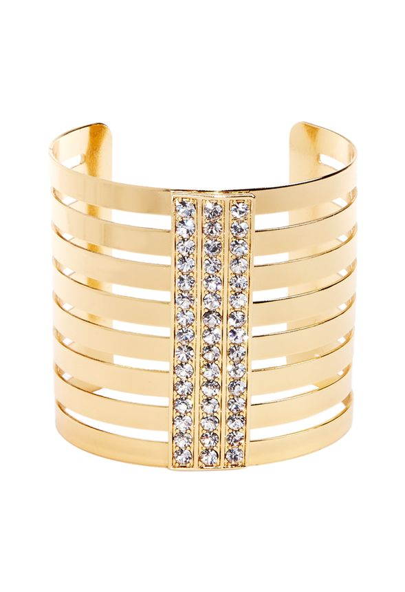 Your cuff game is going to be strong with this total stunner! Modern stacked metal work and center pave stones gives this an ultra-luxe look!