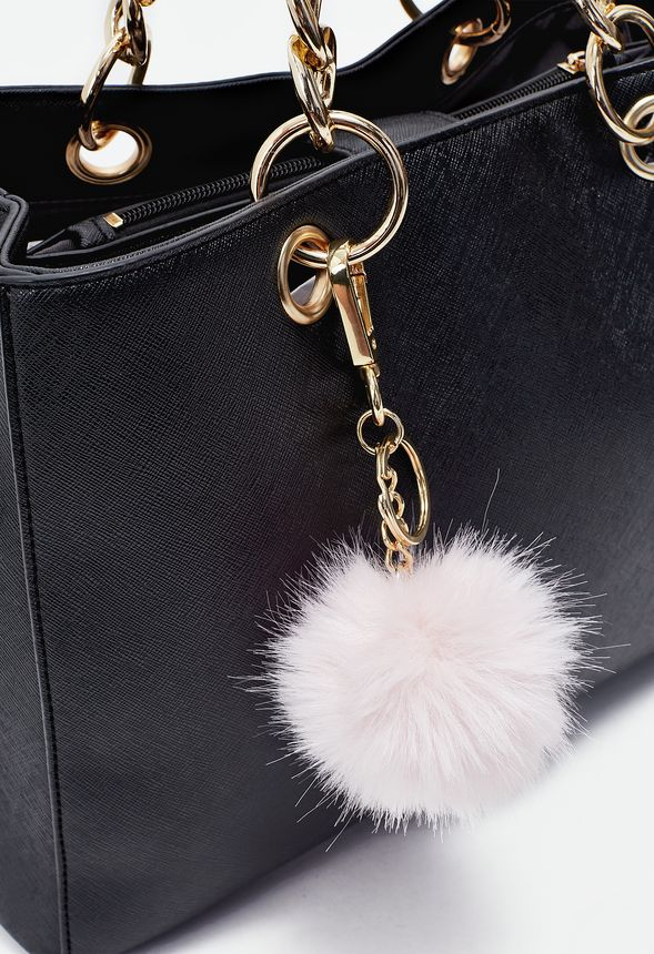 A faux fur fuzzy pom keychain featuring a chain drop and loop push lock attachment.