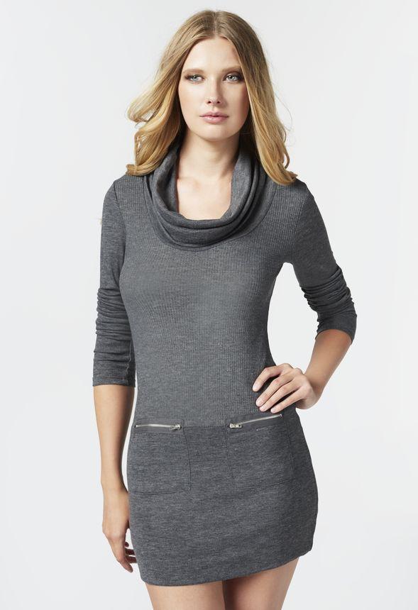 Zipper Pocket Sweater Dress