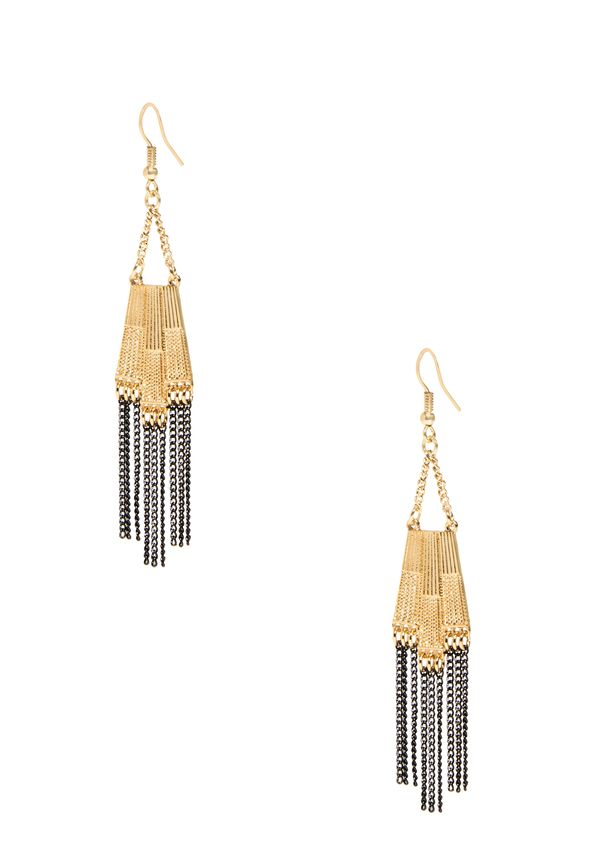 Keep your fringe game strong with these statement makers. A modern take on classic drop earrings, these feminine meets edgy beauties are perfect for the festival and beyond. Gold-plated with drop beads. Fish hook.