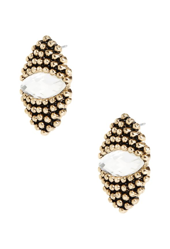 A bohemian on classic statement earrings, this pretty pair features intricate beading detail accompanied by a large center stone for extra shine factor. Choose from black or clear stones.