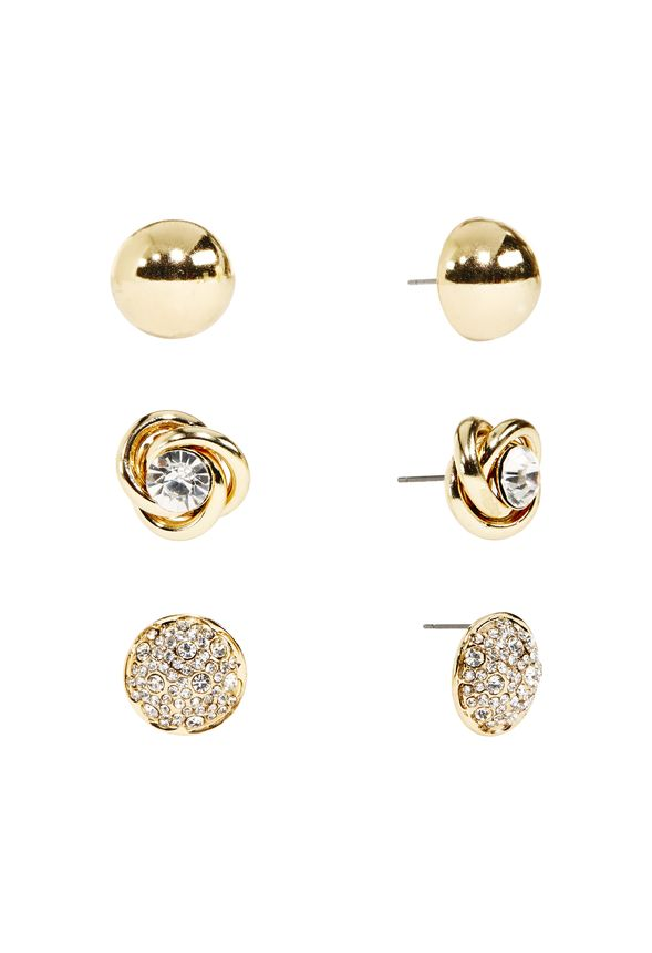 Why have one set when you can have three? This trio of dainty sparkler means you can mix and match your stud look anytime you please. Feautures pave set, gold set and diamond inlaid rope set. Post-back.