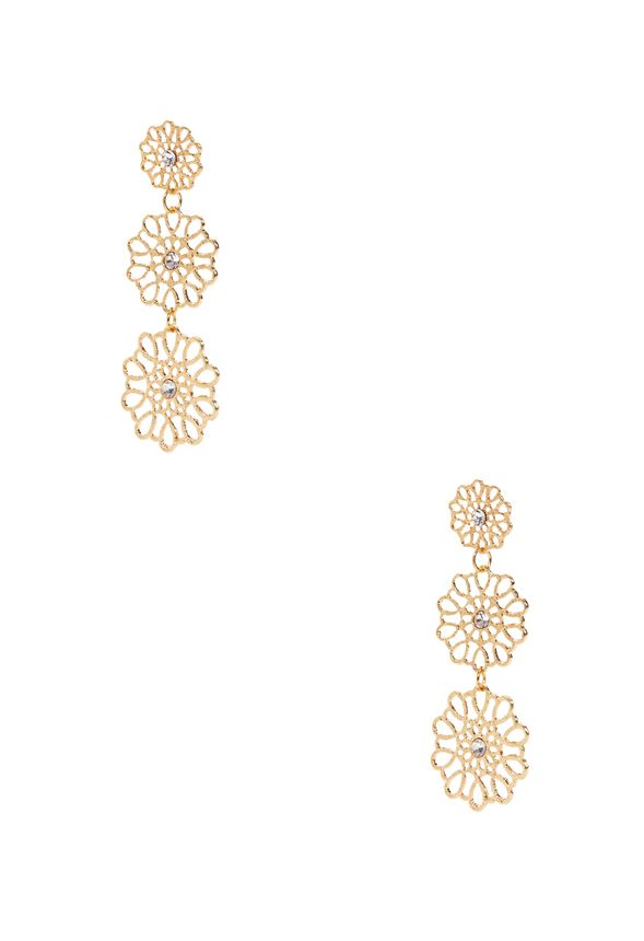 The perfect pairing to our Blosson Bib Necklace, these delicate danglers are lightweight and feminine, with textured metal that hangs in gold-plated snowflake-inspired discs.