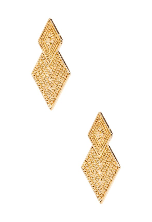 Take on a new level of sophistication with these double diamond earrings featuring pave crystals and post-back closure. Art Deco-inspired.