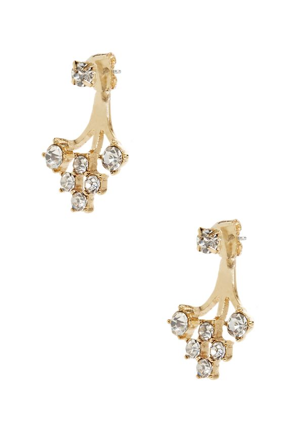 For added sparkle, these are your new go-to earrings. Gold branching drops from the ear with faux diamonds ends. Edgy and elegant.