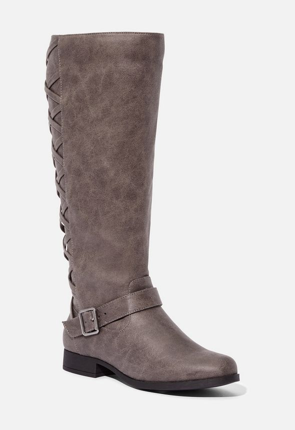 JustFab Marnie Corset Back Boot Womens Gray Size 10
