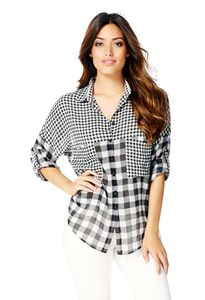 Designer Women's Clothes Discount Prices Mixed Plaid Chiffon Top
